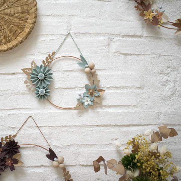 suspension murale, couronne de fleur, papier, pliage main, france, millimétrée