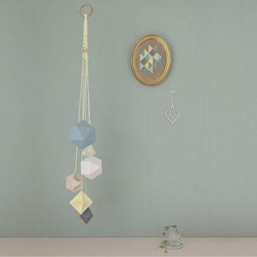 Mobile bluewenn création Millimétrée origami polyèdre