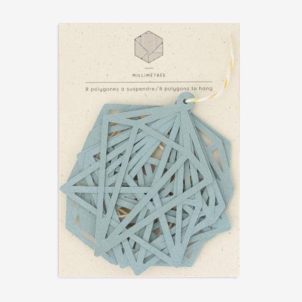 sachet de 8 polygones formes papier découpées the vert