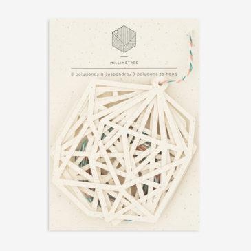 sachet de 8 polygones formes papier découpées vanille
