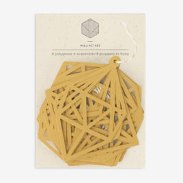 sachet de 8 polygones formes papier découpées moutarde
