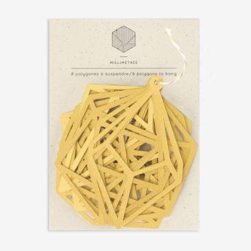 sachet de 8 polygones formes papier découpées or