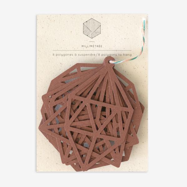 sachet de 8 polygones formes papier découpées terracotta