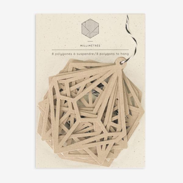 sachet de 8 polygones formes papier découpées kraft