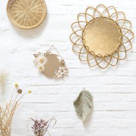 jeaninne x millimetree | miroir vitrail américain et origami couronne lilwenn , papier poudré