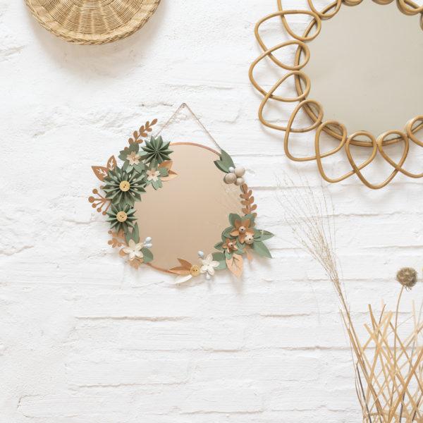 miroir tifanny - rond cuivré 23 cm - lilwenn - cuivre -origami cactus couronne, suspension murale, bijou de mur